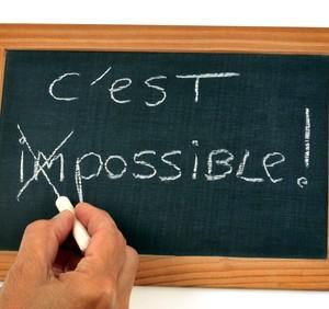 Le dbut du mot impossible barr sur une ardoise